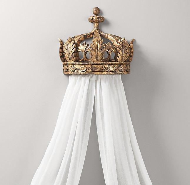 Baby Girl Nursery Wallpaper Uk Gilt Demilune Canopy Bed Crown