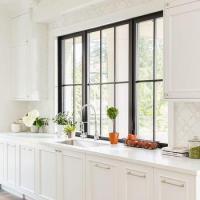 Black Framed Kitchen Window Design Ideas