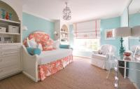 Turquoise Girls Bedroom with Orange Toile Daybed ...