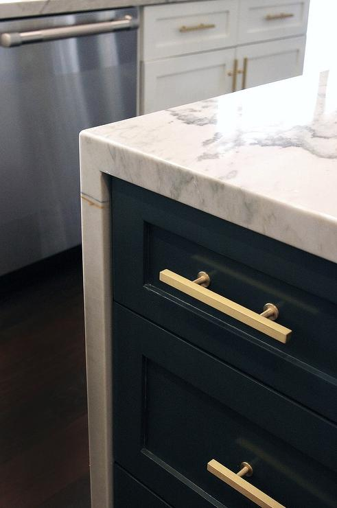 Kitchen Island With Cooktop And Prep Sink Blue Gray Kitchen Island With Brass T Pulls - Hollywood