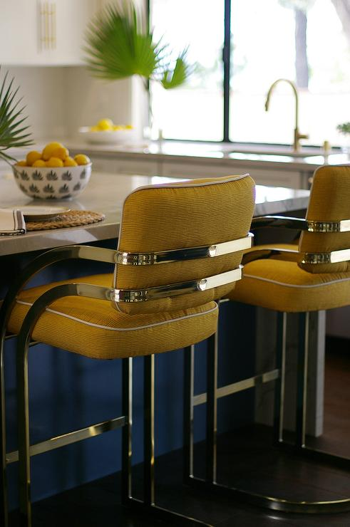 Brass Bar Stools Blue Gray Kitchen Island With Brass T Pulls - Hollywood