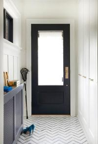 Foyer With Gray Tiles Design Ideas