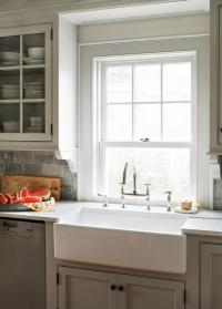 Light Gray Kitchen Cabinets with Farm Sink