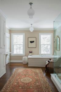 White and Tan Bathroom with Orange Wool Rug - Transitional ...