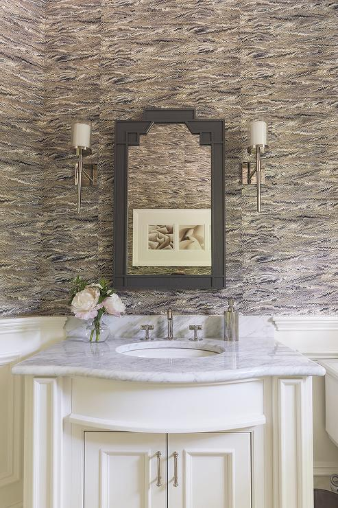 Mirror Lighting Bathroom White And Gray Powder Room With Wainscoting - Transitional