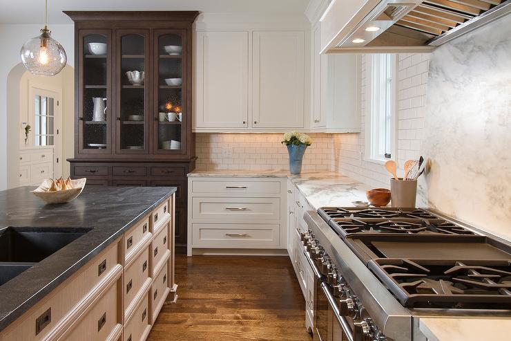 Kitchen Cabinet Hardware For White Cabinets Honed Jet Mist Granite Countertops - Transitional