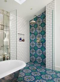 Open Shower with Blue and Green Mosaic Tiles ...