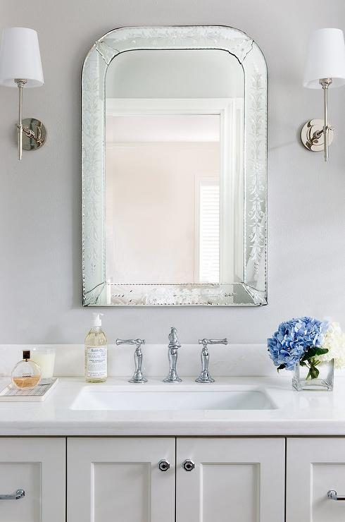 Black White Square Wallpaper Gray Mirror With White Sink Vanity Cottage Bathroom