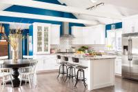 White and Blue KItchen with Wood Beams on Vaulted Ceiling ...