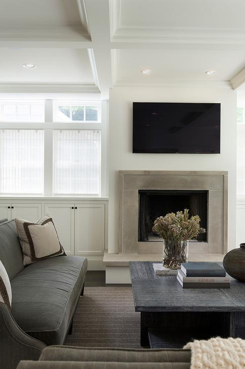 Plain Black Wallpaper For Walls Modern Gray Stone Fireplace With Flat Panel Television