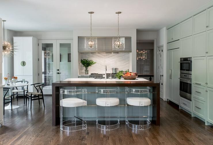 Waterfall Island In Kitchen Gray Kitchen Island With Gold Trim - Contemporary - Kitchen