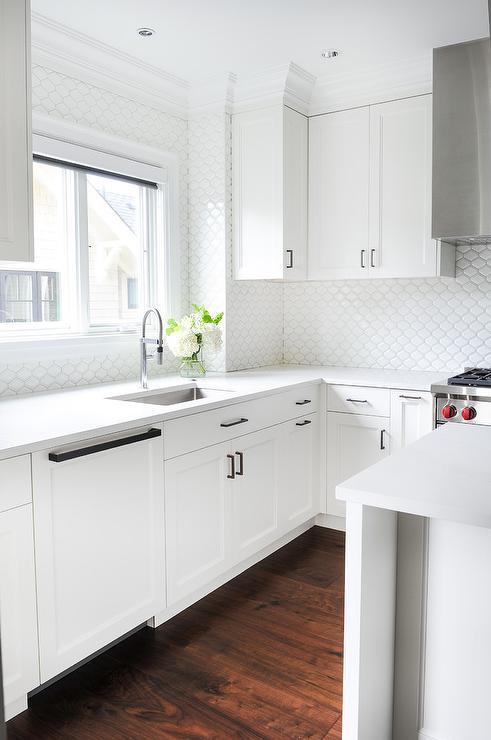 white kitchen cabinets white backsplash tiles transitional white kitchen cabinet glass metal backsplash tile backsplash