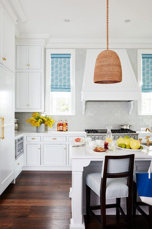 Stacked Cabinets White Kitchen With Blue Paisley Roman Shades - Cottage