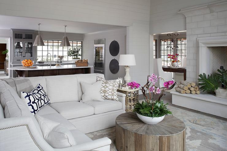 Off White Sectional with Off White Round Ottoman - Transitional - white sectional living room