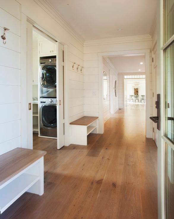 White Shaker Doors For Kitchen Cabinets With Oak Trim Combination Mudroom Laundry Room Design Ideas