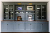 Dark Gray Built In Dining Room Built Ins with Brass ...