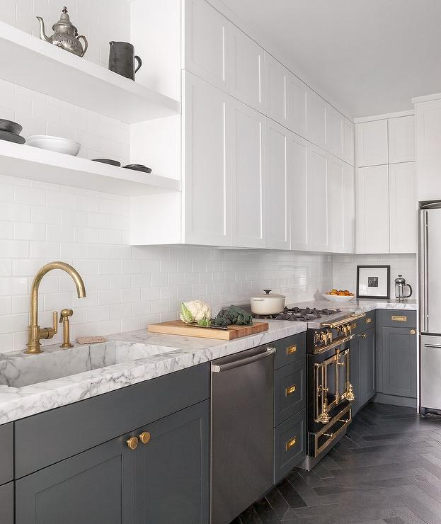White And Gray Kitchen With Brass Harwdare Contemporary