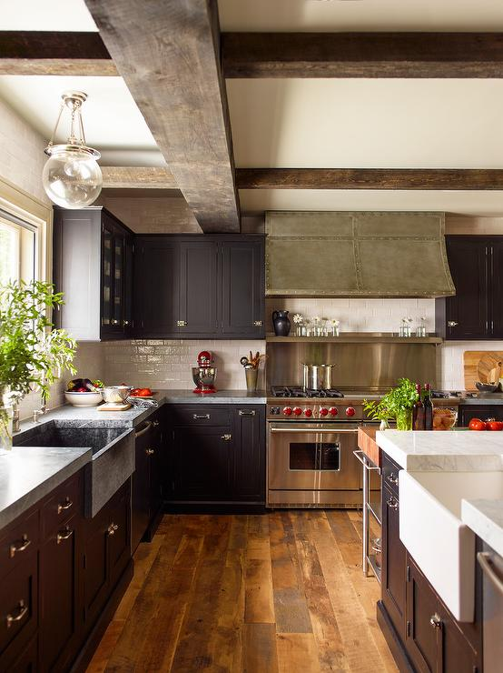 Kitchen Island Espresso Black Kitchen Cabinets With Concrete Countertops