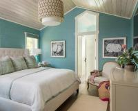 Pink and Blue Bedroom with Gray Nightstands - Contemporary ...