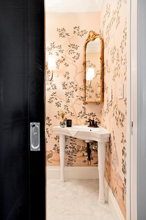 Round Wood Mirror Chinoiserie Bathroom Design Ideas