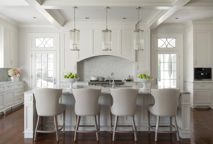Kitchen Island With Ceiling Posts Arched Wood Kitchen Hood - Transitional - Kitchen