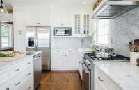Honed Carrera Marble Backsplash - Transitional - Kitchen