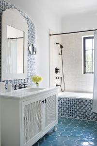 White and Blue Moroccan Style Tiles - Mediterranean - Bathroom