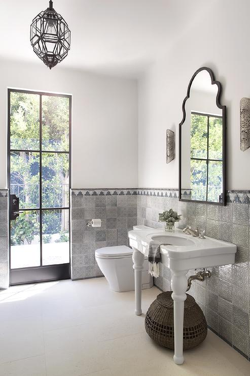 Mirror Tile Backsplash White And Gray Moroccan Style Bathroom - Mediterranean