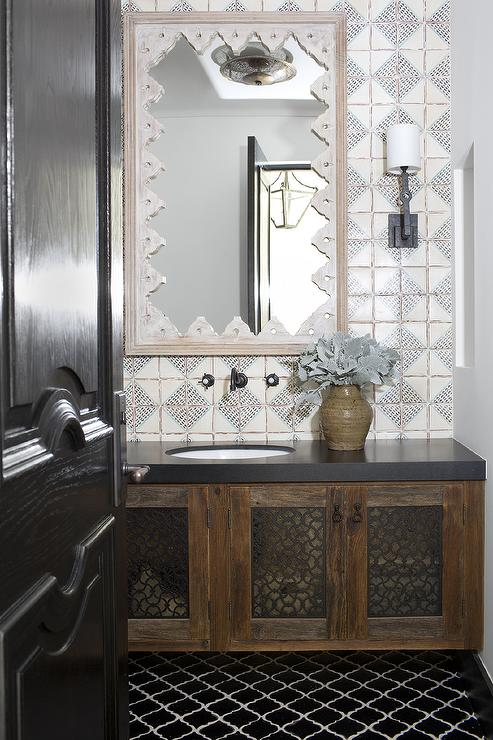 Moroccan Tile Backsplash Moroccan Style Powder Room With Black Marble Quatrefoil