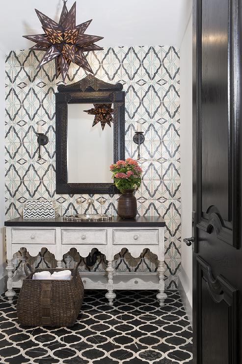 Black Vintage Wallpaper Moroccan Style Powder Room With Black Marble Quatrefoil