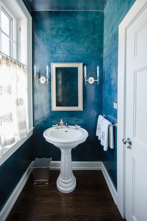 Black And White Leaf Wallpaper Beach Style Powder Room With Blue Ombre Walls Cottage