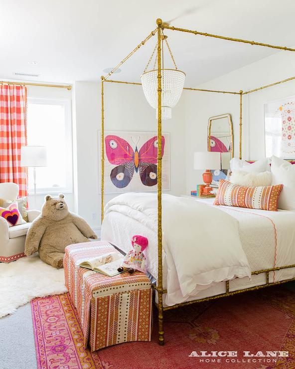 Teenage Girl Room White And Gold Polka Dot Wallpaper Hot Pink And Orange Kid Bedroom Contemporary Girl S Room