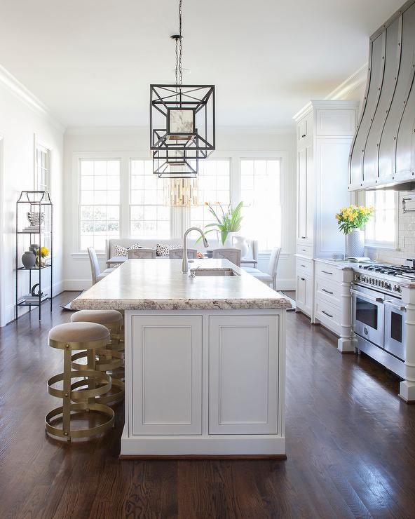 Island Tables For Kitchen With Stools Cream And Gray Granite Countertops - Transitional - Kitchen