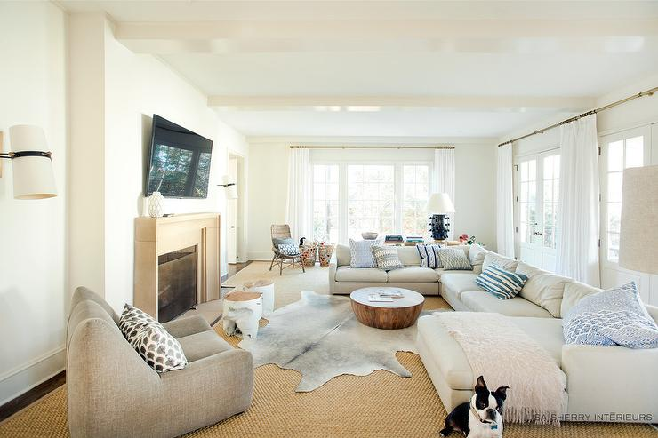 Off White Sectional with Chaise Lounge - Transitional - Living Room - living room chaise lounge