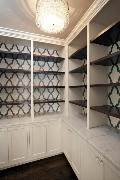 Black and White Wallpaper on Back of Built In Bookcase ...