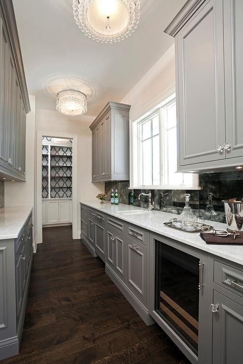 Wallpaper Accent Wall Gray Galley Style Butlers Pantry With Beaded Flush Mounts