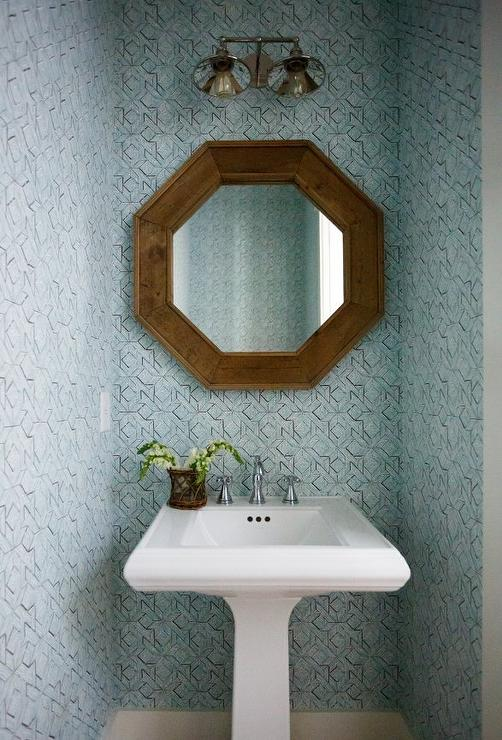 Wood Framed Bathroom Vanity Mirrors Wood Quatrefoil Mirror Over Pedestal Sink - Transitional