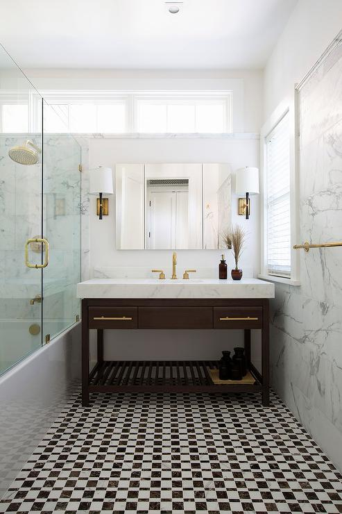 Lit Metal But Brass Cabinet Pulls - Contemporary - Bathroom - Artistic