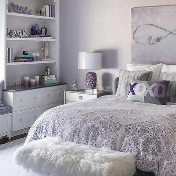 Wallpaper Border For Teenage Girl Gray Girl Bedroom With Purple Accents Contemporary