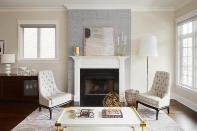 Gray Fireplace Wall with White Mantel - Contemporary - Living Room