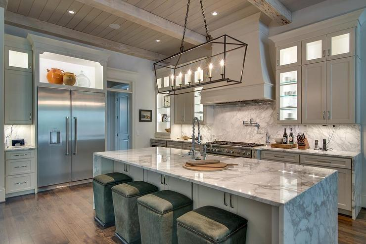 Custom Kitchen Cabinets And Countertops White Pecky Cypress Kitchen Cabinets With Navy Blue Island