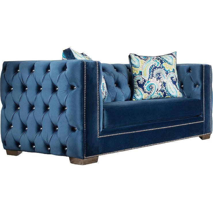 Blue Velvet Tufted Sofa Blue Velvet Tufted Sofa