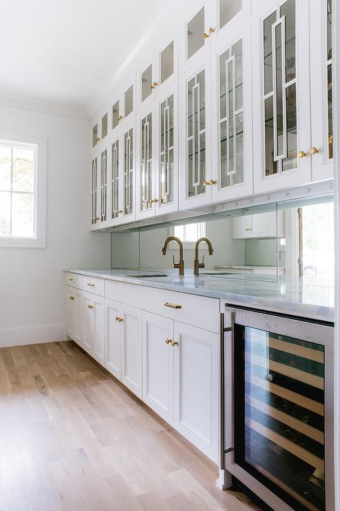 Kitchen Pantry Cabinet Gray Pantry Doors With Aged Brass Oval Door Knobs