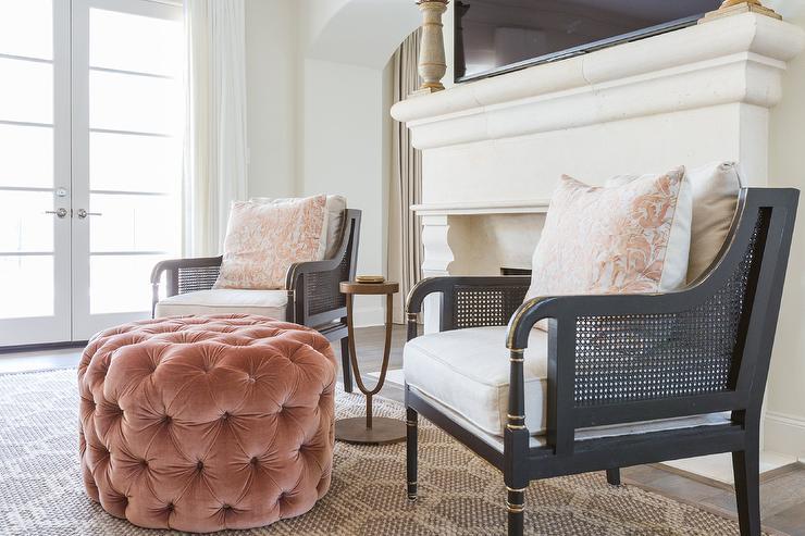Round Pink Living Room Ottoman Design Ideas - living room ottoman