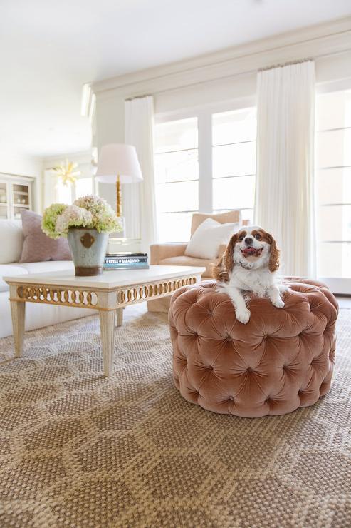 Round Pink Velvet Tufted Living Room Ottoman Design Ideas - living room ottoman
