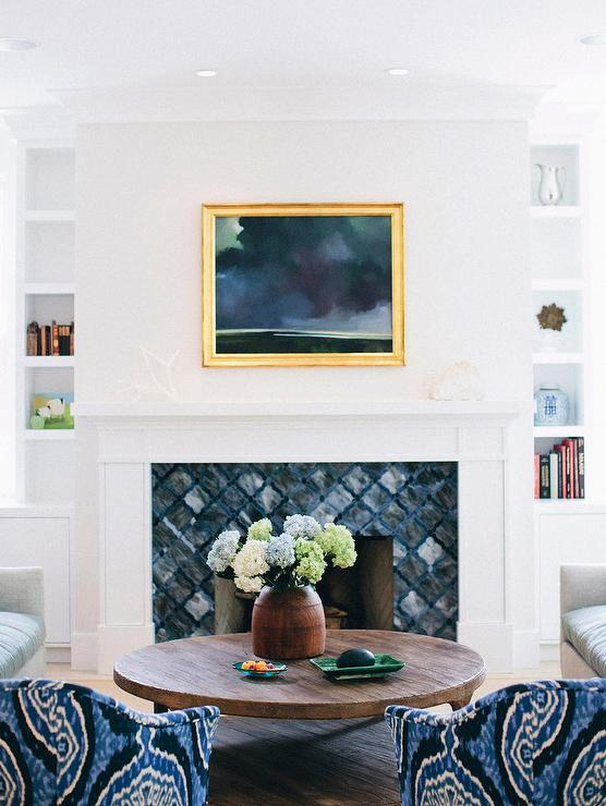 Blue Fireplace Blue Fireplace Tiles - Transitional - Living Room - Elle Decor