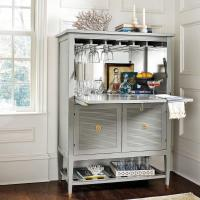 Biaggi Gray Wood Mirrored Bar Cabinet