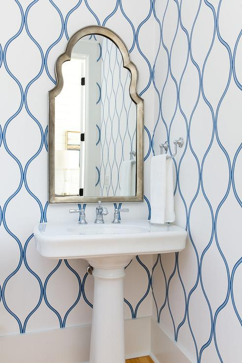 Free Standing Tub Silver And Blue Trellis Wallpaper With Wainscoting