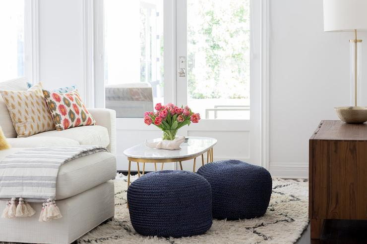 Navy Blue Knitted Living Room Poufs Design Ideas - poufs for living room
