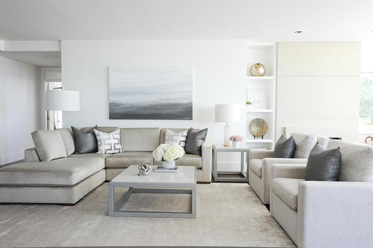 Grey Sofa Ideas Light Taupe Sofa With Steel Gray Pillows - Transitional